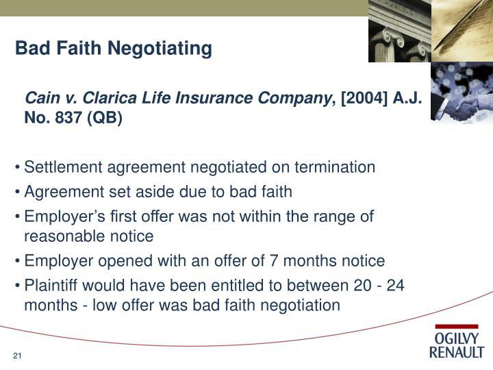 Bad Faith Negotiating