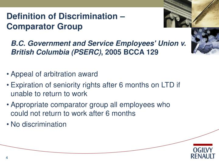 Definition of Discrimination – Comparator Group