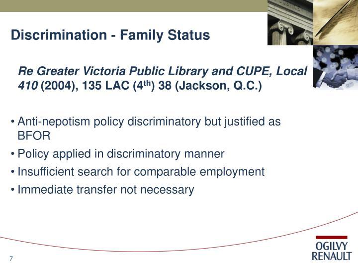 Discrimination - Family Status