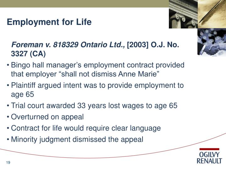 Employment for Life