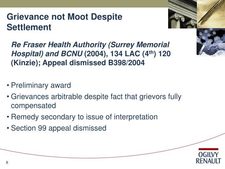 Grievance not Moot Despite Settlement