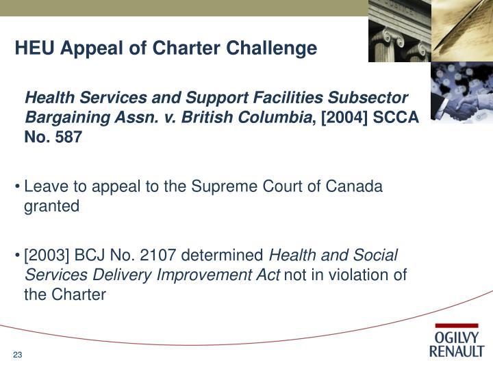 HEU Appeal of Charter Challenge