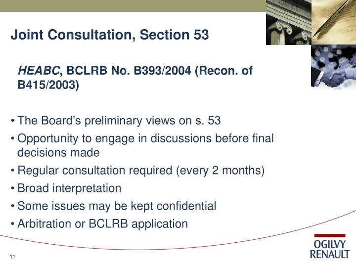 Joint Consultation, Section 53