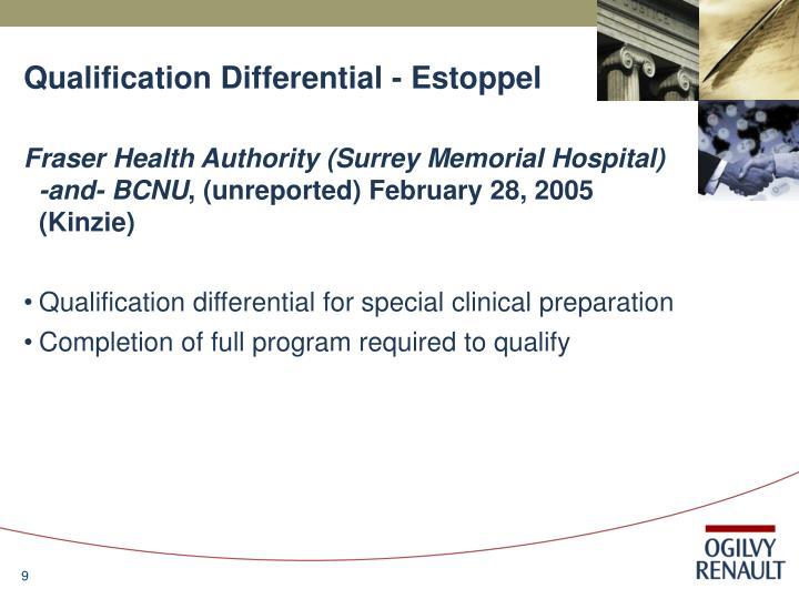 Qualification Differential - Estoppel
