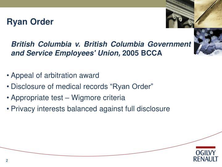 Ryan order