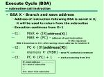 execute cycle bsa subroutine call instruction