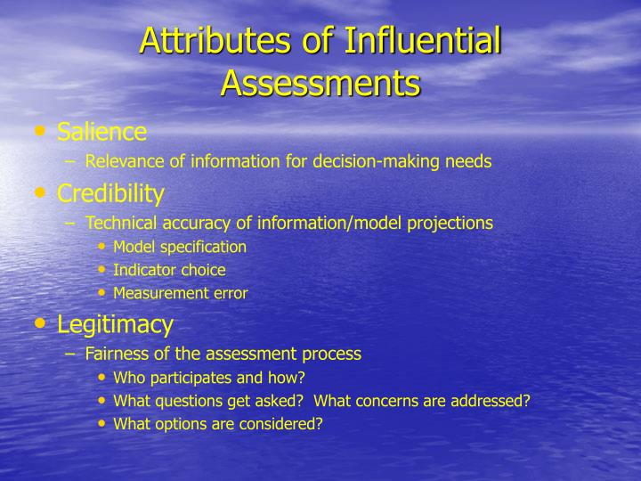 Attributes of Influential Assessments