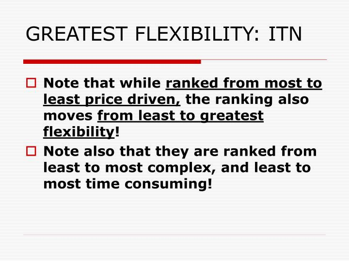 GREATEST FLEXIBILITY: ITN