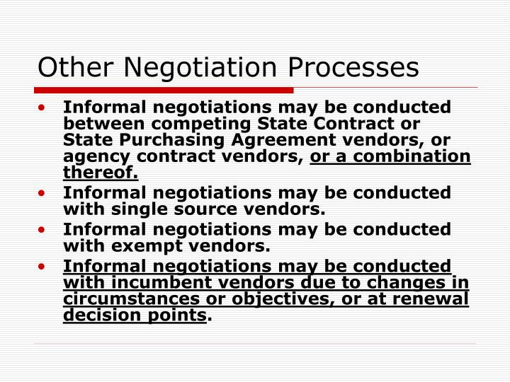 Other Negotiation Processes