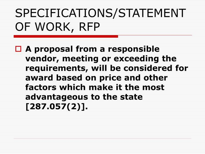 SPECIFICATIONS/STATEMENT OF WORK, RFP