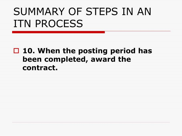 SUMMARY OF STEPS IN AN ITN PROCESS