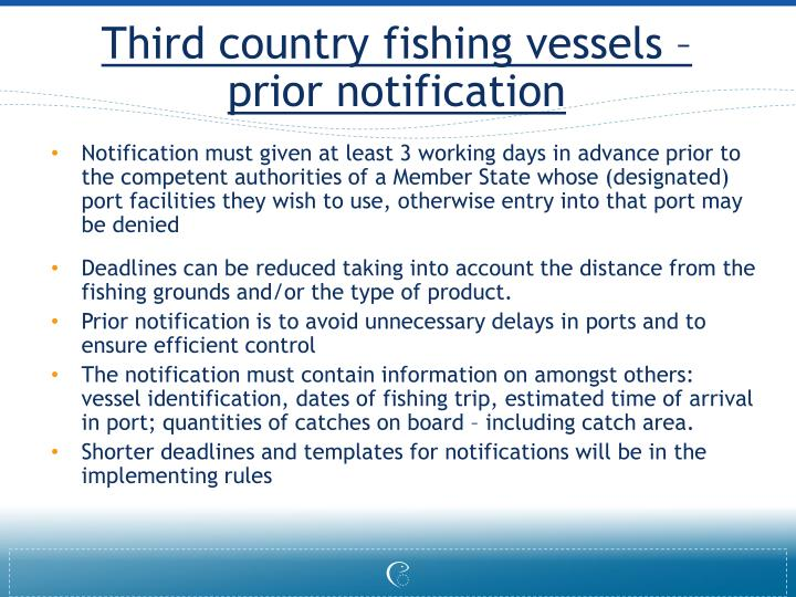 Third country fishing vessels – prior notification