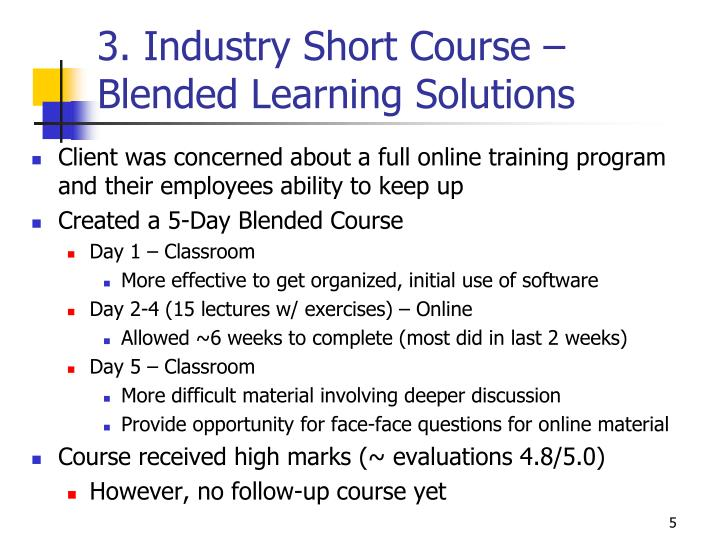 3. Industry Short Course –