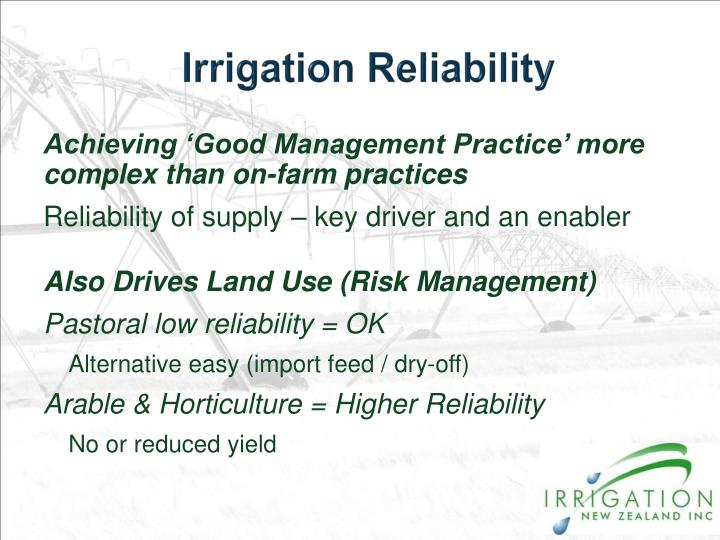 Irrigation Reliability