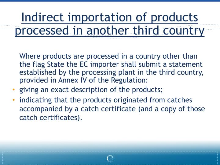 Indirect importation of products