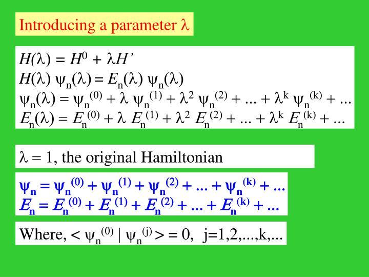 Introducing a parameter