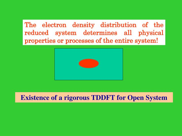 The electron density distribution of the reduced system determines all physical properties or processes of the entire system!