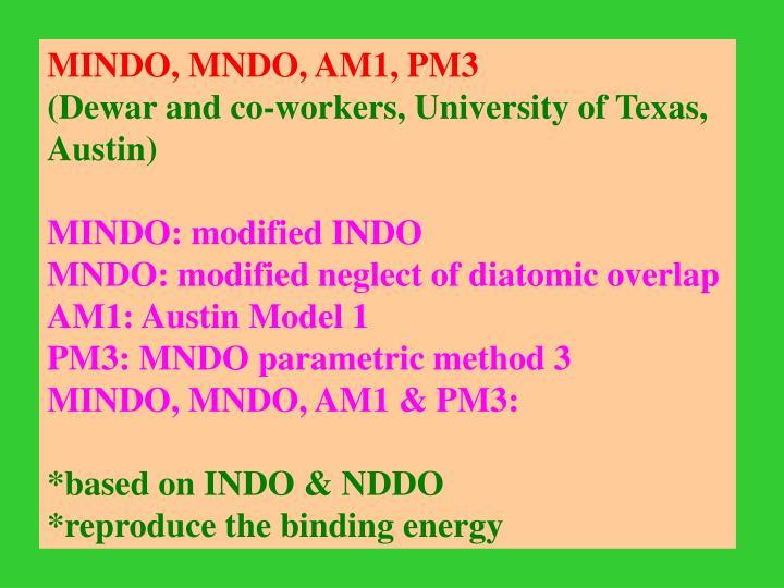 MINDO, MNDO, AM1, PM3