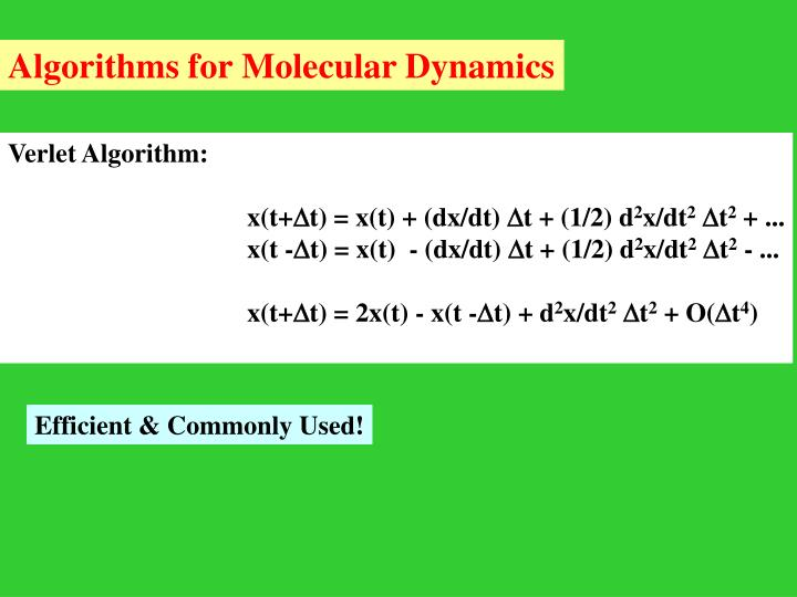 Algorithms for Molecular Dynamics