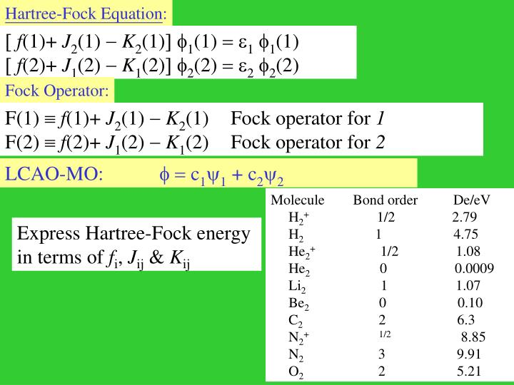 Hartree-Fock Equation
