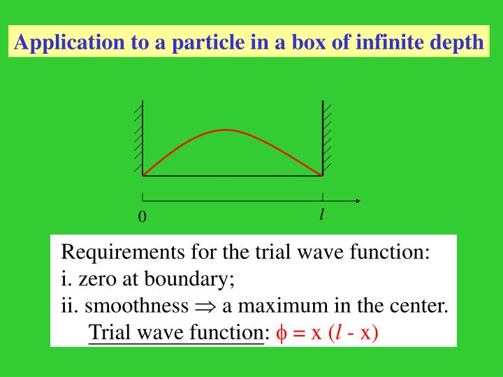Application to a particle in a box of infinite depth