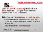 goals objectives 10 pts