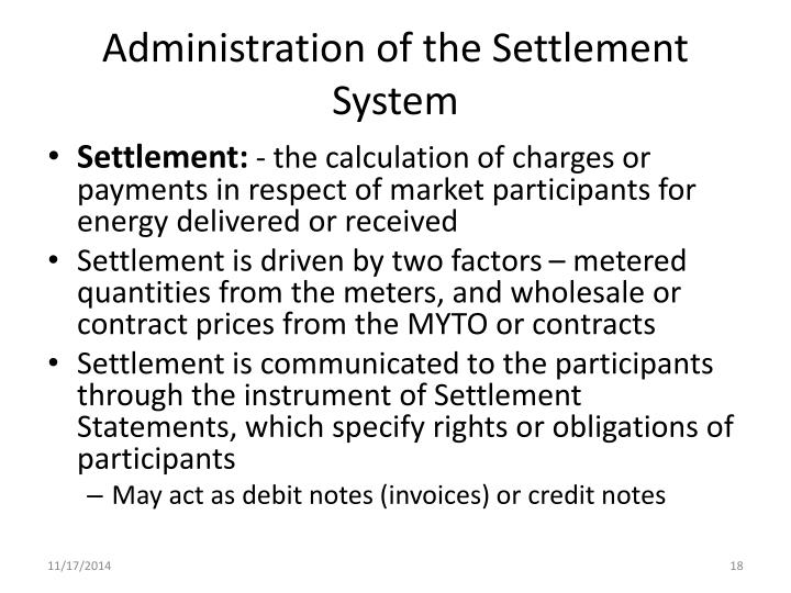 Administration of the Settlement System