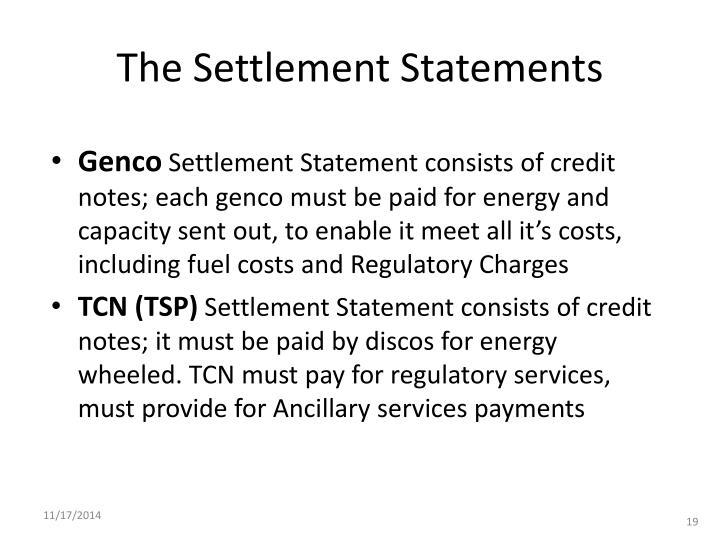 The Settlement Statements