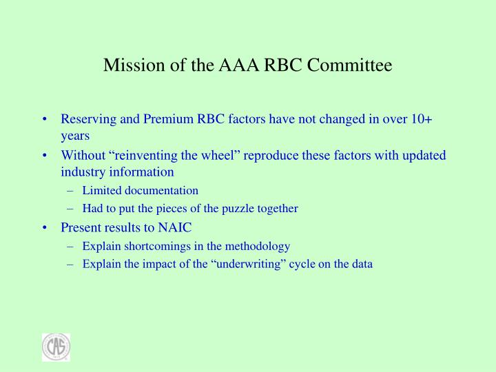 Mission of the aaa rbc committee
