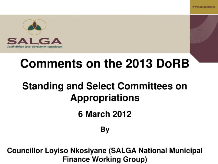 Comments on the 2013 DoRB