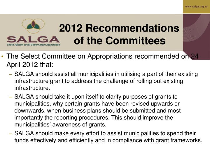 2012 Recommendations of the Committees