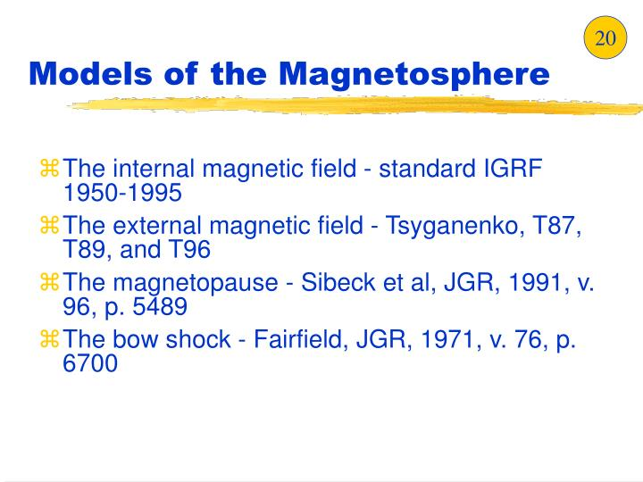 Models of the Magnetosphere