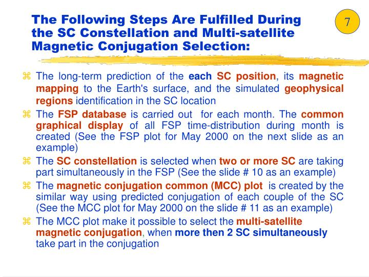 The Following Steps Are Fulfilled During the SC Constellation and Multi-satellite Magnetic Conjugation Selection: