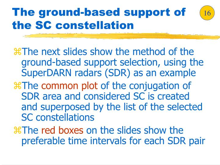 The ground-based support of the SC constellation