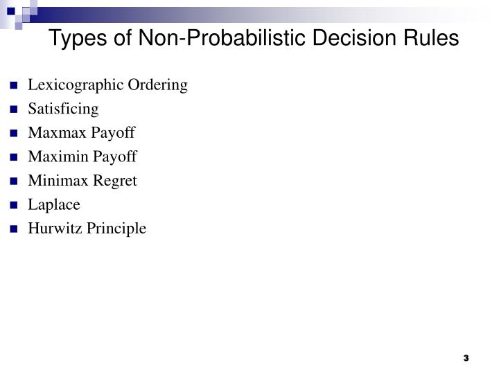 Types of non probabilistic decision rules