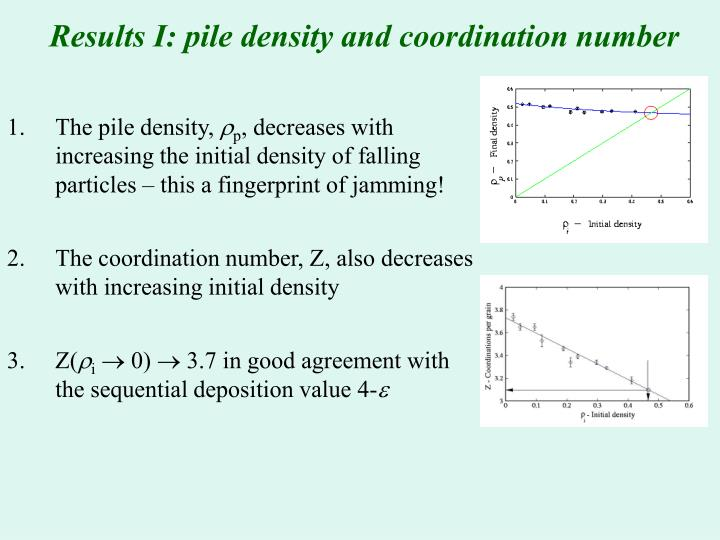 Results I: pile density and coordination number