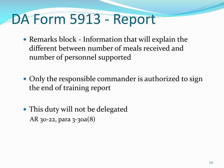 DA Form 5913 - Report