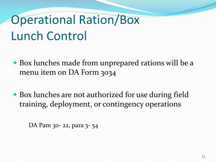 Operational Ration/Box