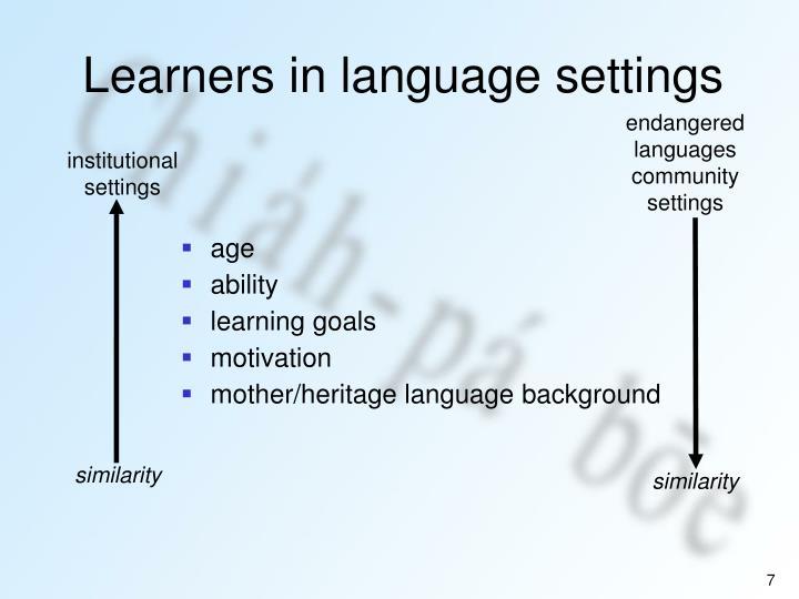 endangered languages community settings