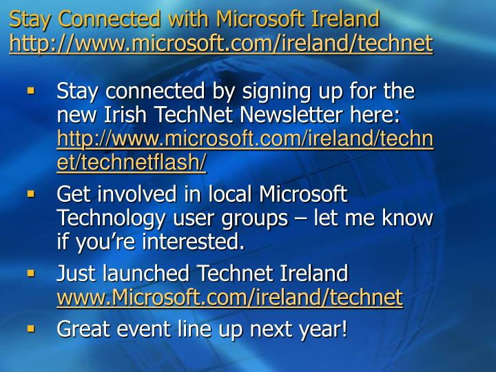 Stay connected with microsoft ireland http www microsoft com ireland technet