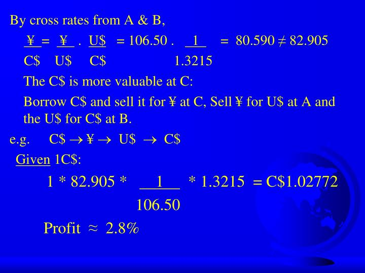 By cross rates from A & B,