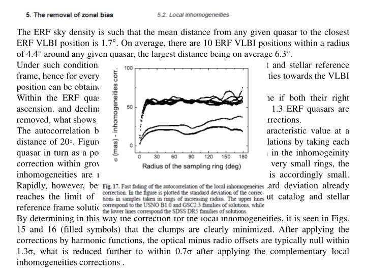 The ERF sky density is such that the mean distance from any given quasar to the closest ERF VLBI position is 1.7