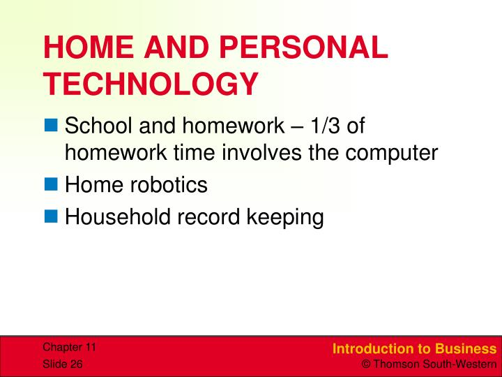 HOME AND PERSONAL TECHNOLOGY
