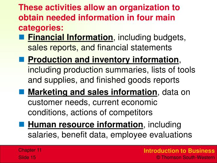 These activities allow an organization to obtain needed information in four main categories:
