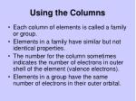 using the columns