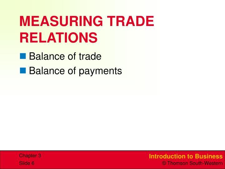 MEASURING TRADE RELATIONS
