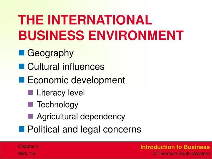THE INTERNATIONAL BUSINESS ENVIRONMENT