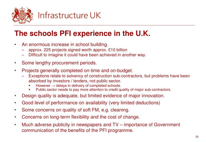 The schools PFI experience in the U.K.