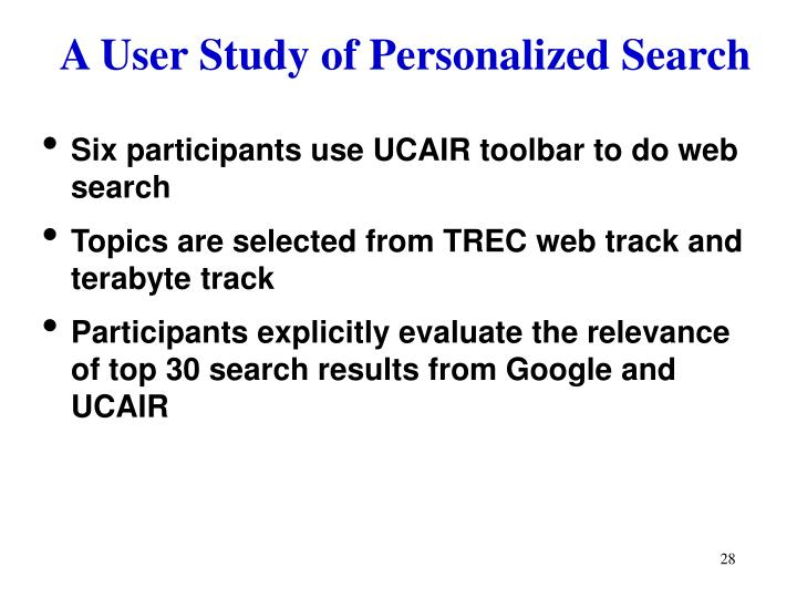A User Study of Personalized Search