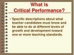 what is critical performance